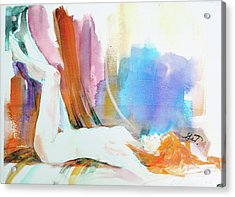 Acrylic Print featuring the painting Rainbow Nude by Gertrude Palmer
