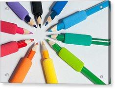Rainbow Of Crayons Acrylic Print