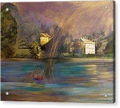 Rainbow On Lake Como Acrylic Print by Maria Grazia  Repetto