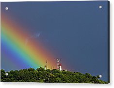 Rainbow On Lighthouse- St Lucia Acrylic Print by Chester Williams
