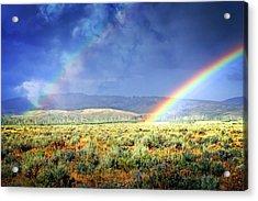Rainbow On The Sagebrush Acrylic Print by Marty Koch