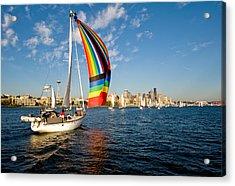 Rainbow On The Wind Acrylic Print by Tom Dowd