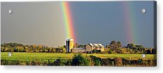 Rainbow Over Barn Silo Acrylic Print