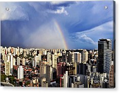 Rainbow Over City Skyline - Sao Paulo Acrylic Print