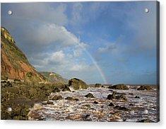 Rainbow Over Dunscombe Cliff Acrylic Print
