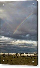Acrylic Print featuring the photograph Rainbow Over Ger Camp, Gobi, 2016 by Hitendra SINKAR