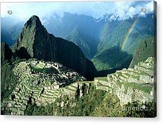 Rainbow Over Machu Picchu Acrylic Print