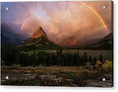 Rainbow Over Mt Gould Acrylic Print