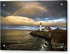 Rainbow Over Portland Head Light Acrylic Print by Benjamin Williamson