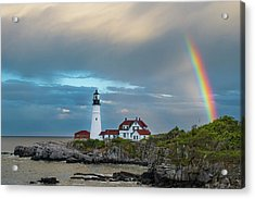 Rainbow Over Portland Head Light Acrylic Print