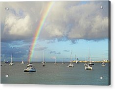 Rainbow Over Simpson Bay Saint Martin Caribbean Acrylic Print