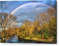 Acrylic Print featuring the photograph Rainbow Over The River by Debra and Dave Vanderlaan