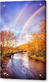 Acrylic Print featuring the photograph Rainbow Over The River II by Debra and Dave Vanderlaan