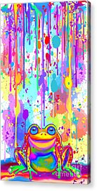 Acrylic Print featuring the painting Rainbow Painted Frog  by Nick Gustafson