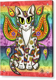 Acrylic Print featuring the mixed media Rainbow Paisley Fairy Cat by Carrie Hawks