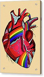 Rainbow Pride Heart Acrylic Print by Kenal Louis