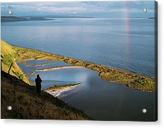 Rainbow Reflection In The San Juan Islands Acrylic Print by Mary Lee Dereske