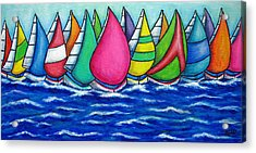 Rainbow Regatta Acrylic Print by Lisa  Lorenz
