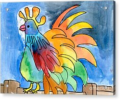 Rainbow Rooster Acrylic Print
