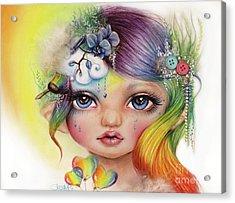 Acrylic Print featuring the mixed media Rainbow Rosalie  by Sheena Pike