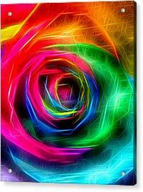 Rainbow Rose Rays Acrylic Print by Marianna Mills