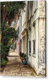 Rainbow Row Sidewalk View - 4 Acrylic Print by Frank J Benz