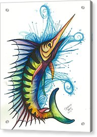 Rainbow Sailfish Acrylic Print by Sarah Jane