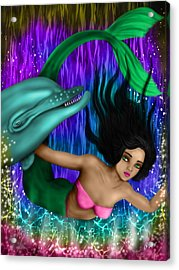Rainbow Sea Mermaid - Fantasy Art Acrylic Print by Raphael Lopez