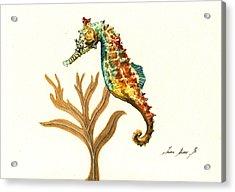 Rainbow Seahorse Acrylic Print by Juan Bosco