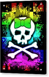 Rainbow Skull Acrylic Print by Roseanne Jones