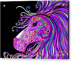 Rainbow Spotted Horse Head 2 Acrylic Print by Nick Gustafson