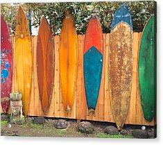 Surfboard Rainbow Acrylic Print by Brenda Pressnall