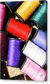 Acrylic Print featuring the photograph Rainbow Threads Sewing Equipment by Jorgo Photography - Wall Art Gallery