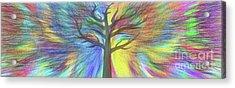 Acrylic Print featuring the digital art Rainbow Tree By Kaye Menner by Kaye Menner