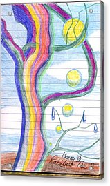 Acrylic Print featuring the drawing Rainbow Tree Revisited by Rod Ismay