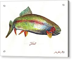 Rainbow Trout Acrylic Print by Juan Bosco
