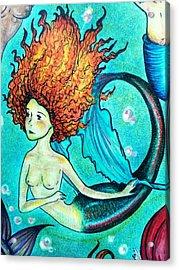 Rainbow Trout Mermaid Acrylic Print
