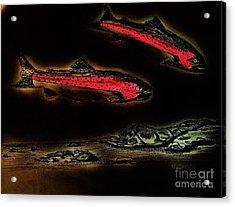 Rainbow Trout Scene - Neon Nights Acrylic Print by Scott D Van Osdol