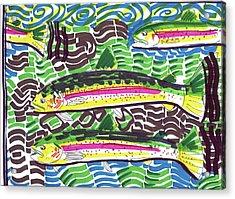 Rainbow Trout School Acrylic Print by Robert Wolverton Jr