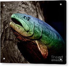 Acrylic Print featuring the photograph Rainbow Trout Wood Sculpture Square by John Stephens