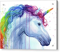 Rainbow Unicorn Watercolor Acrylic Print