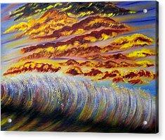 Rainbow Waves Acrylic Print by Marie Lamoureaux