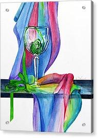Rainbow Wine Glass Acrylic Print