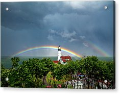 Rainbow X 2 At Portland Headlight Acrylic Print