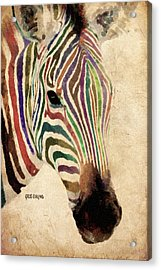 Acrylic Print featuring the painting Rainbow Zebra by Greg Collins