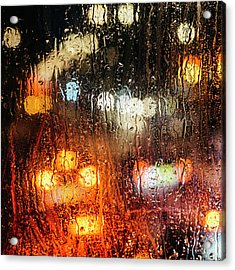 Raindrops On Street Window Acrylic Print