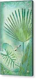 Rainforest Tropical - Elephant Ear And Fan Palm Leaves W Botanical Dragonfly Acrylic Print by Audrey Jeanne Roberts
