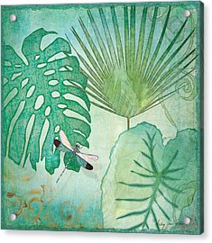 Rainforest Tropical - Philodendron Elephant Ear And Palm Leaves W Botanical Dragonfly 2 Acrylic Print by Audrey Jeanne Roberts