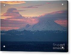 Rainier Lenticular Clouds Sunrise Acrylic Print