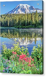 Acrylic Print featuring the photograph Rainier Wildflowers At Reflection Lake by Pierre Leclerc Photography
